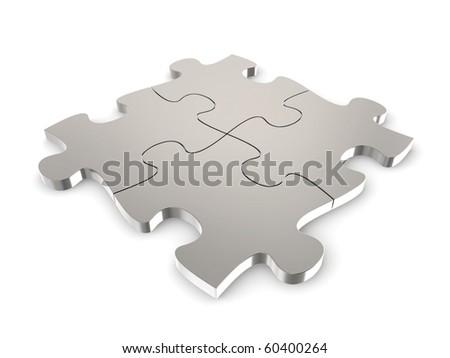 metallic puzzle - stock photo