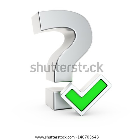Metallic question symbol with small green tick mark - stock photo
