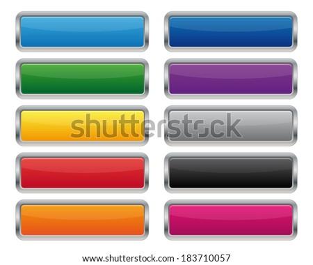 Metallic rectangular buttons. Vector available. - stock photo
