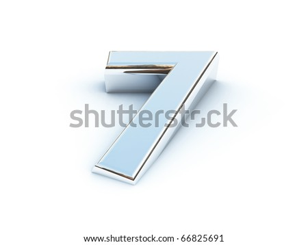 Metallic render of number seven on a white background - stock photo
