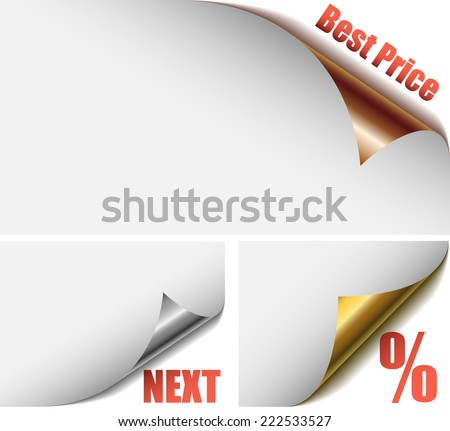 Metallic rolled up paper corners with advertising tags. - stock photo