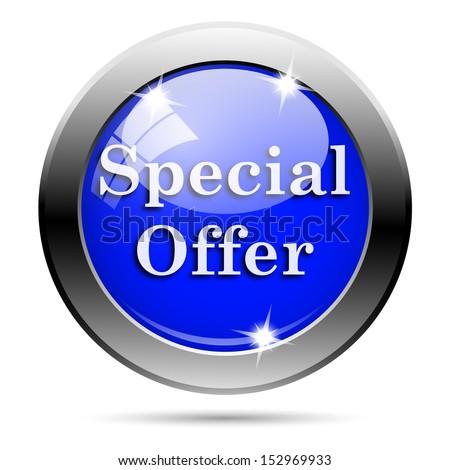 Metallic round glossy icon with white design on blue background - stock photo