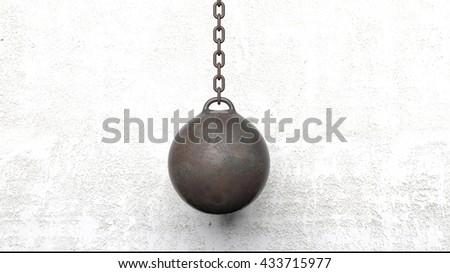 Metallic rusty wrecking ball on chain. 3D rendering - stock photo