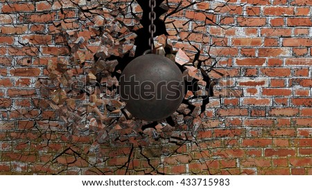 Metallic rusty wrecking ball on chain shattering an old brick wall. 3D rendering - stock photo