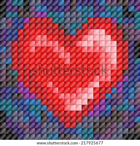 Metallic sheen mosaic tiles in heart shape, Valentine's day or love - stock photo