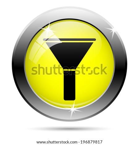 Metallic shiny glossy icon isolated on white background - stock photo