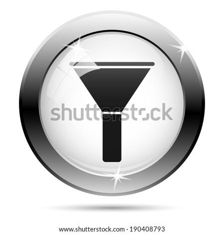 Metallic shiny glossy icon on white background - stock photo