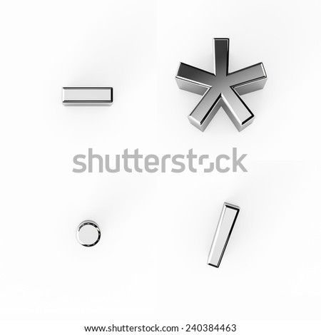 Metallic silver alphabet letters collection - stock photo