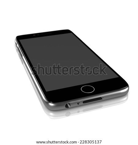 Metallic Smartphone Turned Off with Blank Display on White Background 3D Illustration - stock photo