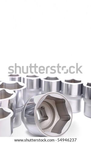 metallic spanners on white background - stock photo
