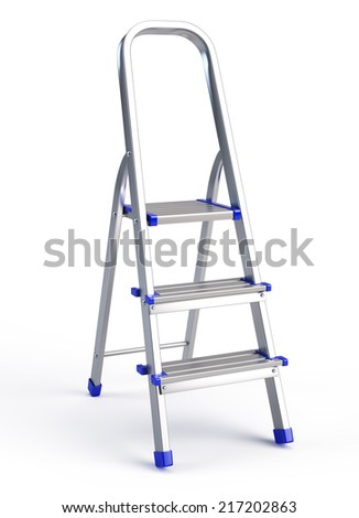 Metallic step ladder isolated on white - stock photo
