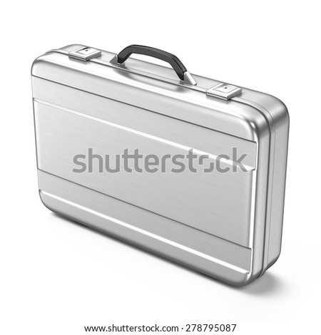 Metallic suitcase isolated on white background - 3d render - stock photo