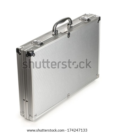 metallic suitcase on white background. with clipping path - stock photo