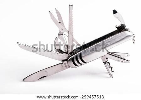 metallic swiss knife army keychain - stock photo