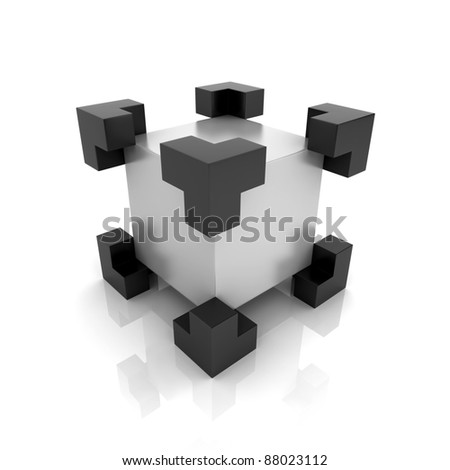 Metallic symbol with cube in focus (main element) - stock photo