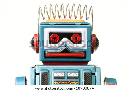 metallic  toy-robot, on white - stock photo