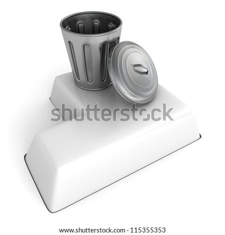 metallic trash can on white computer button key - stock photo
