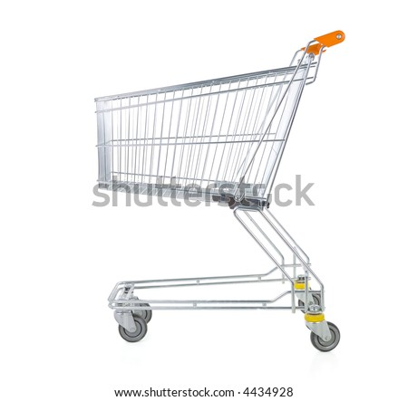 Metallic trolley isolated on white in studio. Side view - stock photo