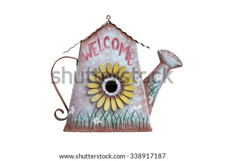 metallic watering pot isolated on white background - stock photo