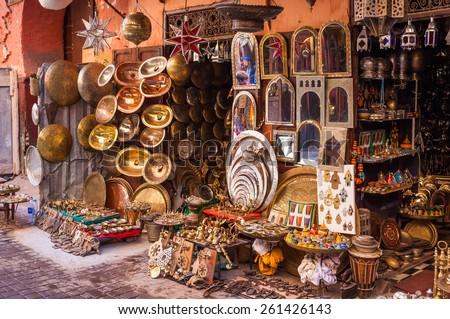 Metalwork for sale in Marrakesh souq, Morocco - stock photo
