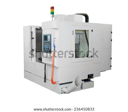 Metalworking equipment - CNC lathe machine isolated on white background - stock photo