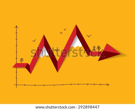 Metaphor like mountain in graph. Color  illustration. - stock photo