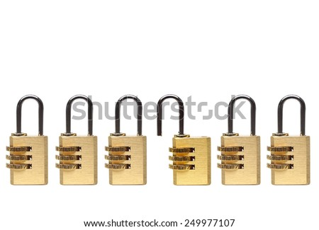 Metaphor of a vulnerability in computer system / security locks with passwords on isolated background  - stock photo