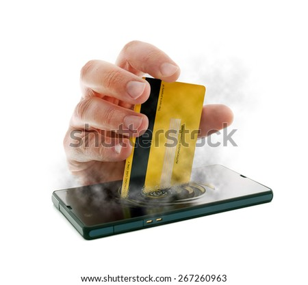 Metaphorical image about checkouts or payments over Internet and mobile devices - stock photo