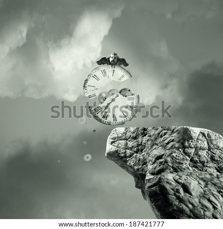 Metaphysics imagine representing an old and broken clock that falls off a cliff in a dramatic and surreal background - stock photo