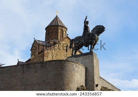 Metekhi cathedral in old Tbilisi, Georgia - stock photo