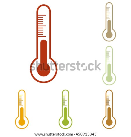 Meteo diagnostic technology thermometer sign. Colorful autumn set of icons. - stock photo