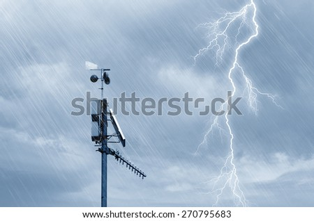 meteo station on the mountain - stock photo