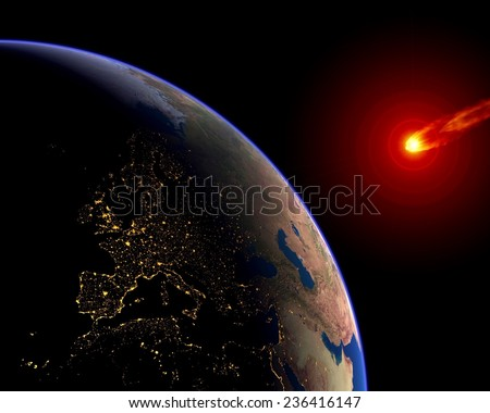 Meteor asteroid Earth impact crisis Europe. Elements of this image furnished by NASA. - stock photo