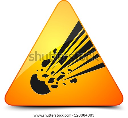 Meteor Hazard Sign - stock photo