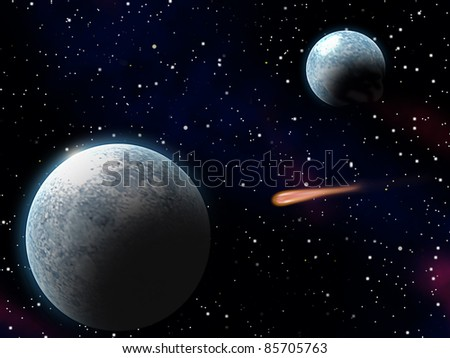 Meteor heading towards on of the planets - stock photo