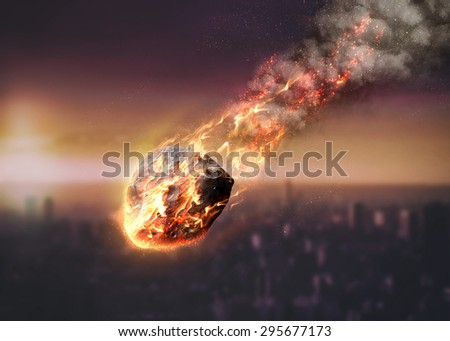 Meteor shower destroying city on earth. Elements of this image furnished by NASA - stock photo