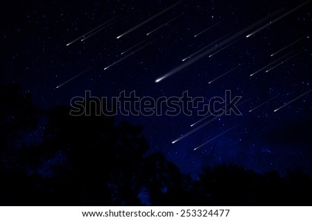 Meteor shower in night sky illustration - stock photo