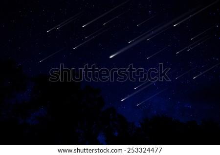 Meteor shower in night sky illustration - stock photo