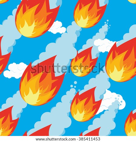 Meteor shower seamless pattern. falling Comet oranment. Texture of fireball. Flying meteorite ornament. Outer body of fire flies. Cosmic threat of destruction - stock photo