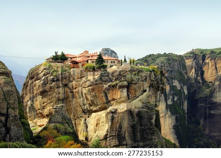 Meteora Rocks and Monasteries, Greece - stock photo