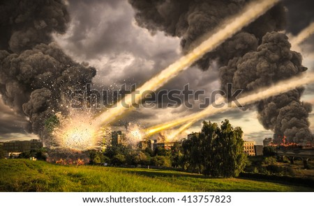Meteorite shower destroying the city and buildings - stock photo