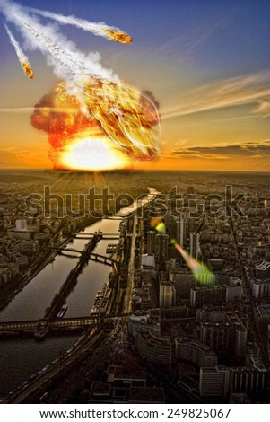 Meteorite shower over a city� representing the Apocalypse - stock photo
