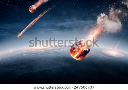 Meteorites on their way to earth and breaking through atmosphere (Elements of this image furnished by NASA- earthmap for 3Drender) - stock photo