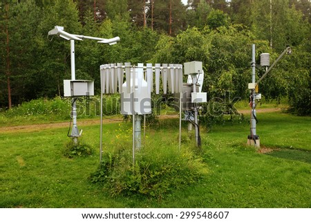meteorological instruments in the summer in a botanical garden - stock photo