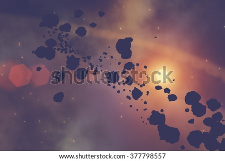 Meteors and asteroids on a starry background. Digital illustration. No elements of NASA or other third party. - stock photo