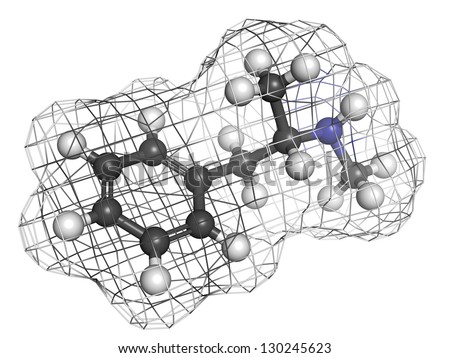methamphetamine (crystal, meth) psychostimulant drug, molecular model. Atoms are represented as spheres with conventional color coding: hydrogen (white), carbon (grey), nitrogen (blue) - stock photo