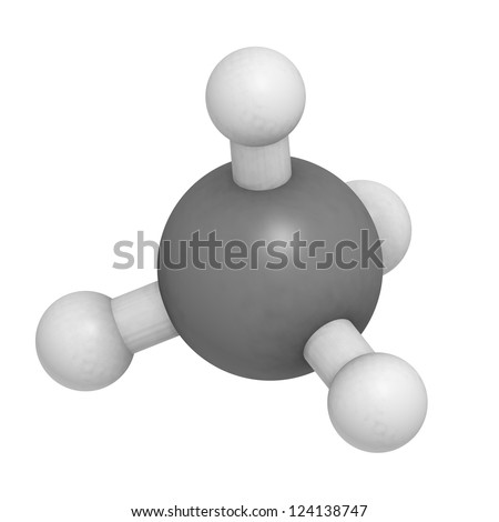 Methane (CH4) gas molecule, chemical structure. Methane is the main component of natural gas. - stock photo