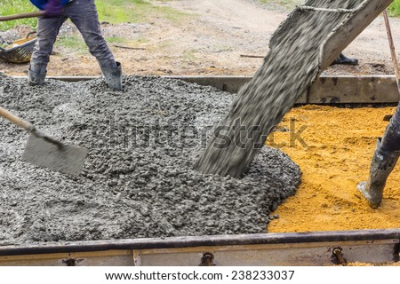 Methods, processes, procedures, road construction, reinforced by a team of specialists. And route updates To develop a streamlined and fast traffic. - stock photo