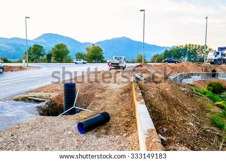 METKOVIC, CROATIA - NOVEMBER 3: Road constructions in Metkovic, Croatia, on November 3, 2011. - stock photo