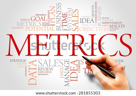 Metrics word cloud, business concept - stock photo